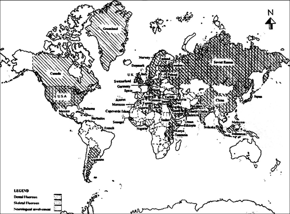 Figure 1: World map showing dental, skeletal and neurological fluorosis in different countries