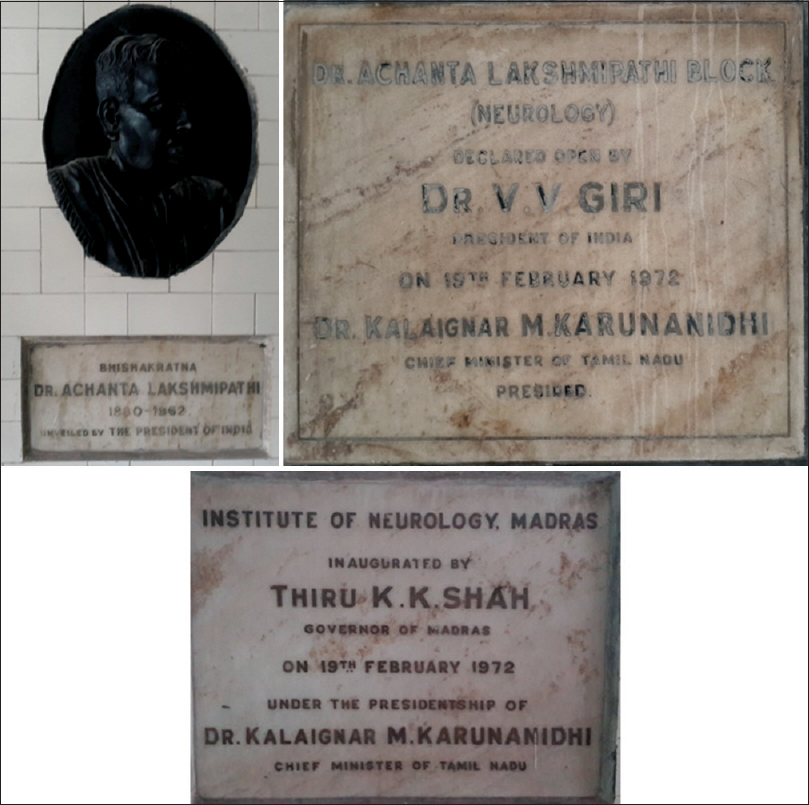 Figure 14:  Plaque showing the inauguration of Madras Institute of Neurology in 1972 by Honorable President of India, Mr. V. V. Giri, in the presence of the Governor, Mr. K. K. Shah, and the Chief Minister, Mr. M. Karunanidhi