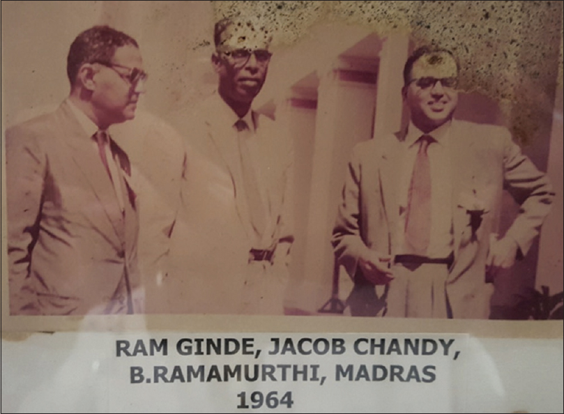 Figure 9:  The three giants of Indian neurosurgery: Drs. Ram Ginde, Jacob Chandy, and B. Ramamurthi in Madras in 1964