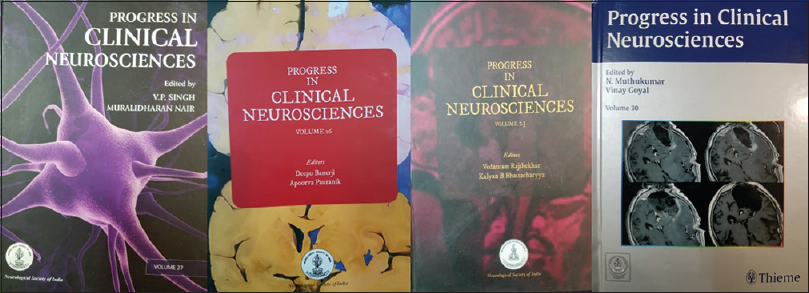 Figure 3: Cover pages of various editions of Progress in Clinical Neurosciences