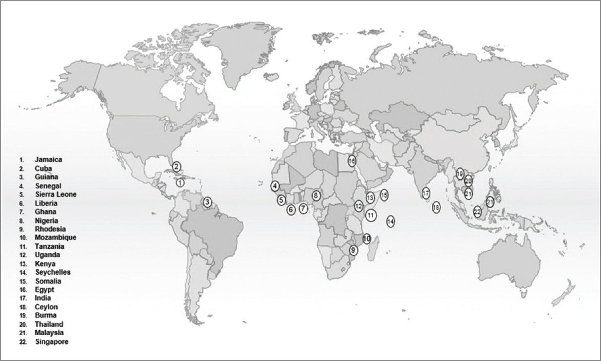 Figure 1: Countries which have reported the presence of tropical ataxic neuropathy, nutritional ataxic neuropathy or prisoner of war neuropathy are numbered and the corresponding names of the states/countries given in the lower left corner