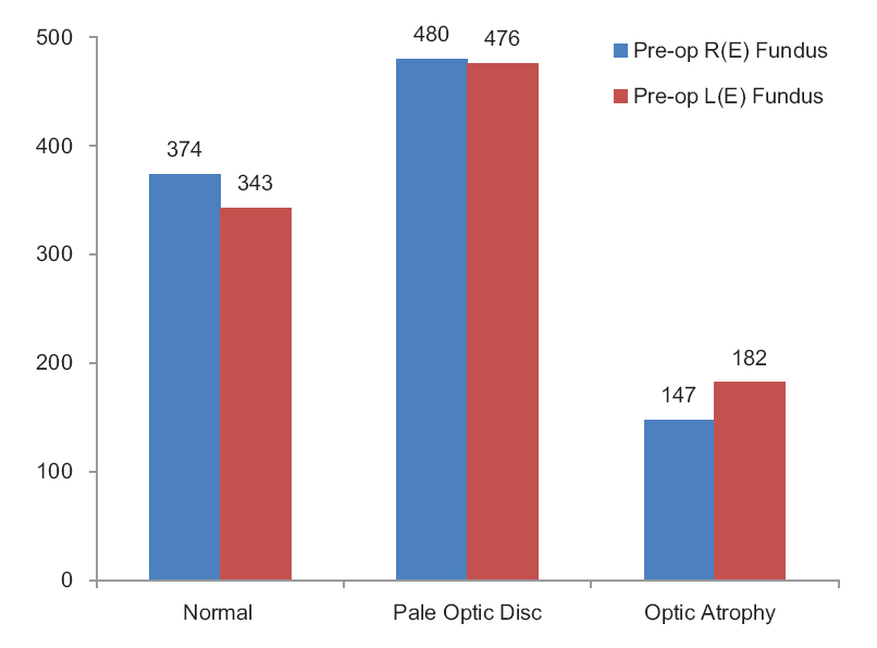 Figure 3: Frequency distribution of preoperative (preop) fundus. R(E): Right eye; L(E): Left eye