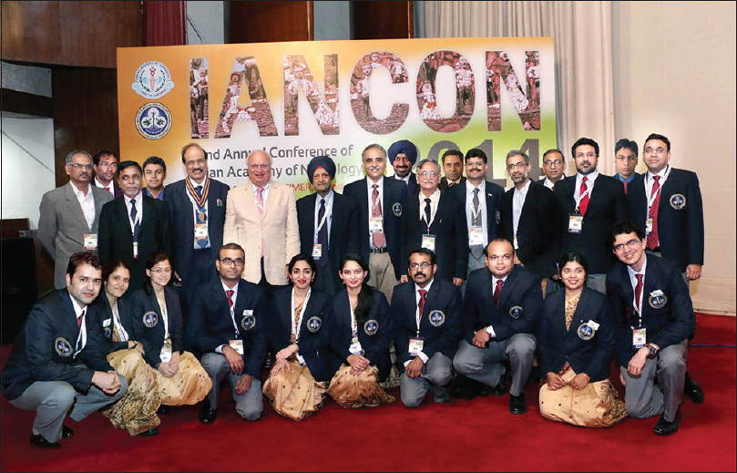 Figure 13: Organizing committee of IANCON 2014 (22<sup>nd</sup> Annual Conference of Indian Academy of Neurology) with Dr. Raad Shakir (standing sixth from left), the President of World Federation of Neurology