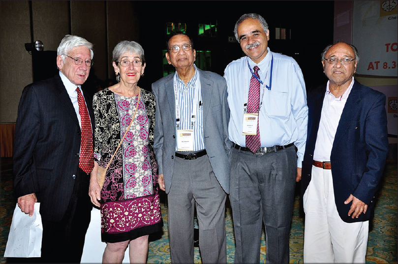Figure 20: Dr. Vivek Lal (4<sup>th</sup> from left) with Dr. Louis Caplan ( first from left) and Mrs Brenda Caplan (2<sup>nd</sup> from left) and other distinguished guests. Dr. Louis Caplan shares a special bond with the Department of Neurology, PGIMER, Chandigarh