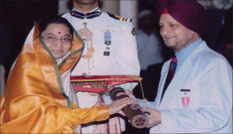 Figure 21: Dr. Jagjit Singh Chopra being awarded Padma Bhushan by Srimati Pratibha Patil, the Honorable President of India