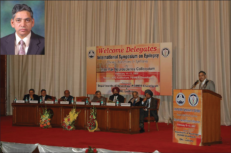 Figure 4: Dr. Kewel Krishan Talwar addressing the audience on the occasion of International Symposium on Epilepsy; Inset: File photo of Padma Shri Dr. K K Talwar