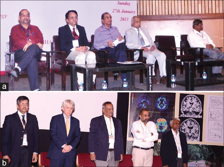Figure 30: Conferences organized by the Neurology Department: (a) Overview of Stroke-2013: Drs. V. Ravi, P Satishchandra, G. Arjundas, D Nagaraja, M Veerendrakumar; (b) Second TS Srinivasan Knowledge Conclave - 2016: Workshop on Cognition and Dementia-2016: Drs. PK Pal, RC Peterson, TR Raju, ES Krishnamoorthy, Mathew Verghese