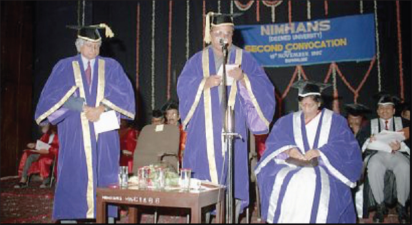 Figure 33: Annual Convocations: Dr. M Gourie-Devi, Director and Vice Chancellor, at the Second Annual Convocation of NIMHANS (1997) which was graced by the presence of Dr. M. Shankar Naik, Minister for Medical Education, Government of Karnataka and Vice-President of NIMHANS; and, Dr. APJ Abdul Kalam, Scientific Advisor to Raksha Mantri, Secretary, Defence Research and Development Organisation (DRDO)