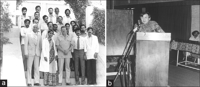 Figure 36: Visitors to the Neurology Department: (a) In the year 1983, Sir John Walton with the Director, and the Faculty of the Department of Neurology; (b) In the year 1982, Dr. DC Gajdusek delivering the keynote address at the Neurovirology Seminar