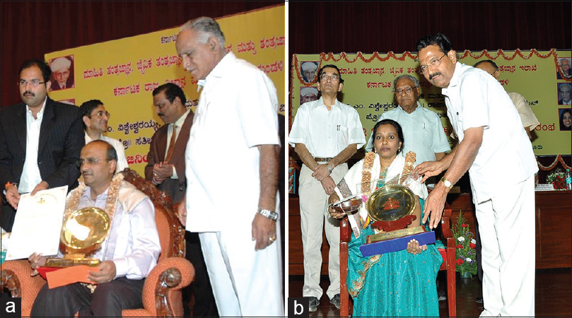 Figure 9: Neurology faculty members receiving awards: (a) Dr. Uday Muthane receiving the Sir CV Raman Young Scientist Award in the year 2007, from Sri BS Yeddyurappa, the Chief Minister of Karnataka; (b) Dr. A. Nalini receiving the Sir CV Raman Young Scientist Award in the year 2008
