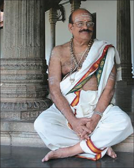 Figure 2: Prof. M. Sambasivan as a Vedic Pundit in 2015