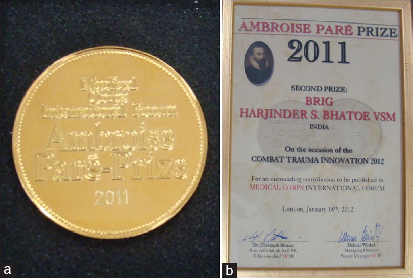 Figure 20: (a) Ambroise Paré award medallion received by Brig. HS Bhatoe; and, (b) Ambroise Paré award certificate for Combat Trauma Innovation received by Brig. HS Bhatoe