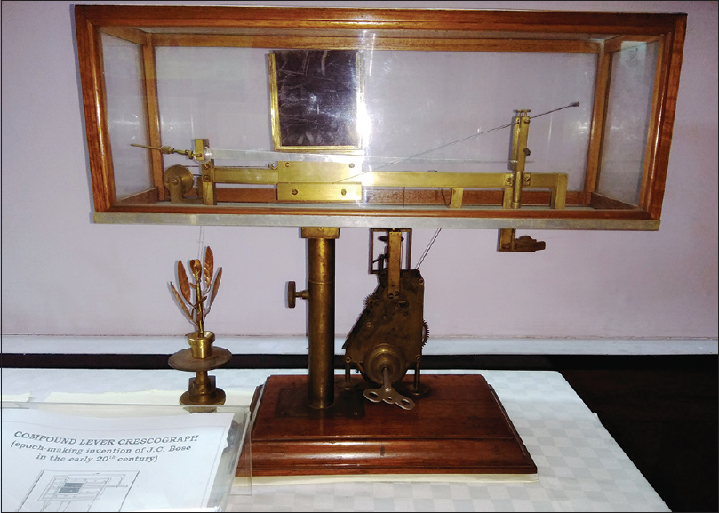 Figure 2: Compound lever crescograph &#8211; an invention by Prof. JC Bose in the early 20<sup>th</sup> century; apparatus is on display at the Bose Museum in Kolkata [Printed with permission from: Prof. Sujoy Kr. Das Gupta, Director (Officiating) Bose Institute, Kolkata]: