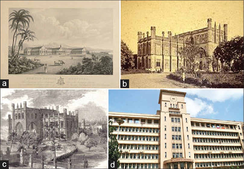 Figure 1: (a) Jamshedjee Jeejeebhoy Hospital, 1843. (b) Old Grant Medical College building, 1860. (c) Grant Medical College in the illustrated London News, 8<sup>th</sup> October 1859, print from photograph by H. Hinton. (d) Present day photo of Grant Medical College building and Hospital, Mumbai