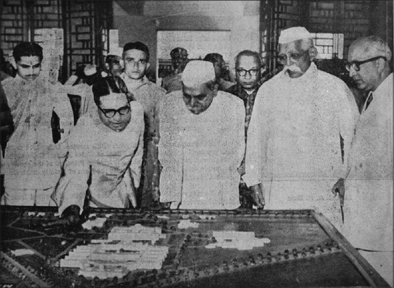 Figure 2: Dr. GL Sharma, the Dean, showing the model of the college to the President of India, Dr. Rajendra Prasad at the inauguration on 27th March, 1953. (Left to right: Dr. GL Sharma, Dr. Rajendra Prasad, Dr MS Kannamwar, Dr. RS Shukla and Dr. Shahani)