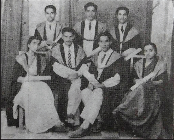 Figure 3: The first batch of MBBS graduates of Government Medical College, Nagpur; Standing (left to right): Dr. BJ Subhedar, Dr. VG Gharpure, Dr. ND Sathe. Sitting (left to right): Dr Mrs. Pande (Miss M. Sathe), Dr RD Dube, Dr. VR Deshpande, Dr. VD Shastrakar