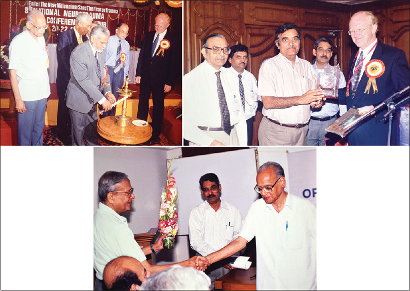 Figure 8: 8<sup>th</sup> Neurotrauma Conference, 1997. a. Left to right: Dr. GM Taori, Dr. Arjun Sehgal (in the background), Dr. Dongaonkar (Vice Chancellor of Maharashtra University of Health Services) lighting the lamp, with Prof. Graham Teasdale; b: Left to right: Dr. SN Bhagwati, Dr. S. Babhulkar, Dr. Ramesh Chandra, Dr. Hemant Deshpande, Prof Graham Teasdale; c: Dr. Ajit K. Banerji, Dr. Hemant Deshpande, Dr. GM Taori