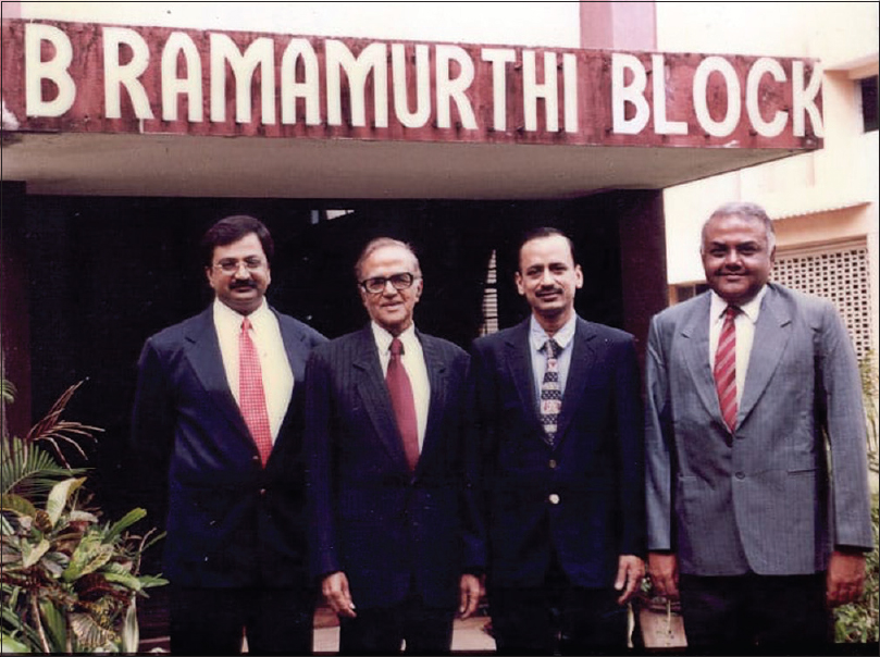 Figure 12: The four musketeers: Dr. K Sridhar, Dr. Ramamurthi, Dr. M C Vasudevan, Dr. R Ravi standing in front of the B Ramamurthi block