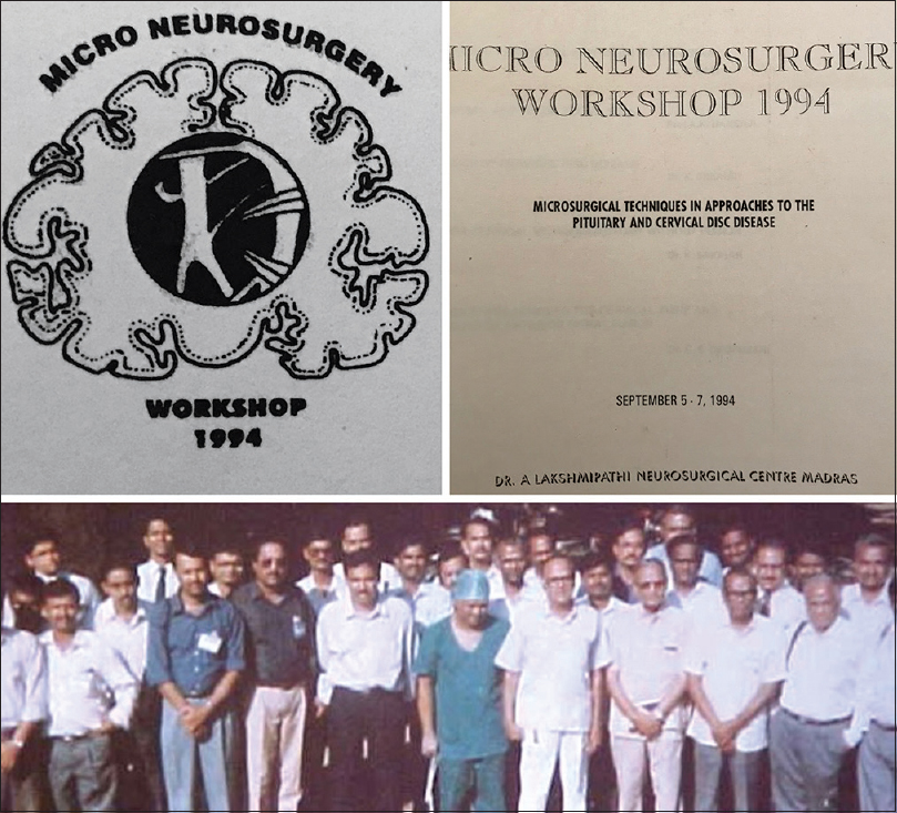 Figure 14: Photographs of the First Microneurosurgery Workshop 1994. From top left: The Logo created, the reading material printed and the group photograph taken