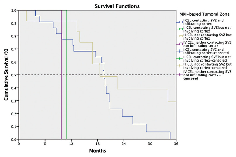 Figure 4: Survival curves for each subgroup using MRI-based location; black dashed line identifies the median (50%) survival time in each group. Median survival in groups II and IV was less than one year, while in groups I and III surpassed 18 months