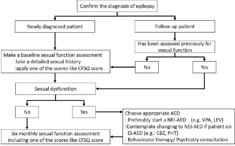 Figure 2:  Algorithm for assessment of sexual dysfunction in people living with epilepsy. *CFSQ: Changes in Sexual Functioning Questionnaire; #NEI-AED: nonenzyme-inducing antiepileptic drugs;<sup>##</sup>EI-AED: Enzyme-inducing antiepileptic drugs
