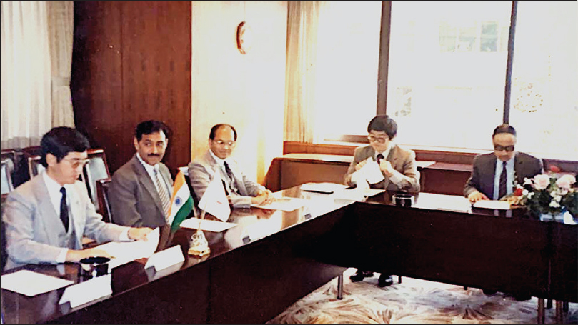Figure 1: The Japanese JICA delegation planning the development of SGPGI with Prof. DK Chhabra, Prof. SS Agarwal (his friend and close associate sitting towards his left side) and functionaries of Government of Uttar Pradesh