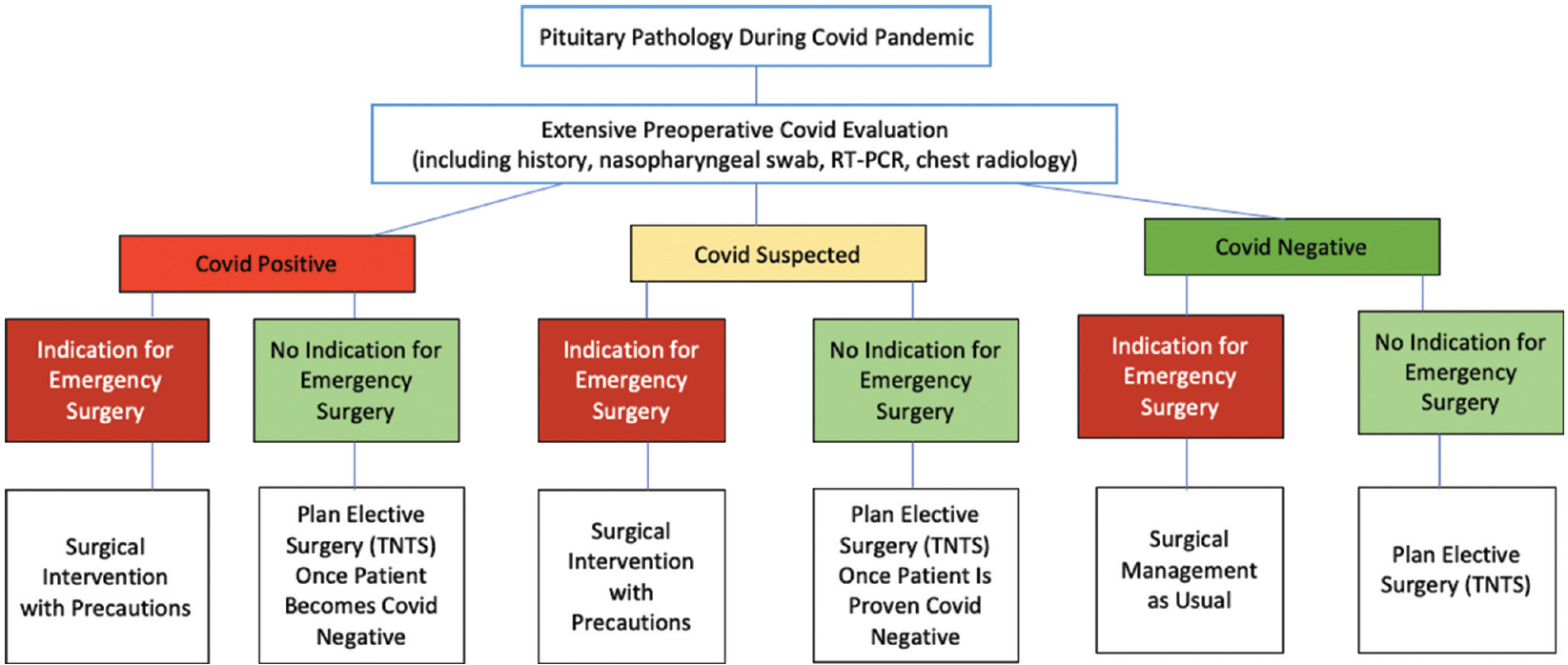 Figure 1: Risk mitigation strategy for sellar pathologies during COVID-19 pandemic (COVID-19, corona virus 19; TNTS, transnasal transsphenoidal surgery)