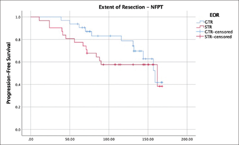 Figure 3: Kaplan-meyer – Progression free survival of patients with nfpt according to extent of resection. Log Rank: <i>P</i> = 0.28. Breslow: <i>P</i> = 0.09